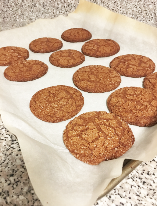 Your cookies are done after 8-10 minutes, or until they look like this; cracked on top, and golden brown.